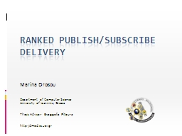 Ranked Publish/Subscribe Delivery