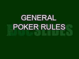 how to play poker rules pdf