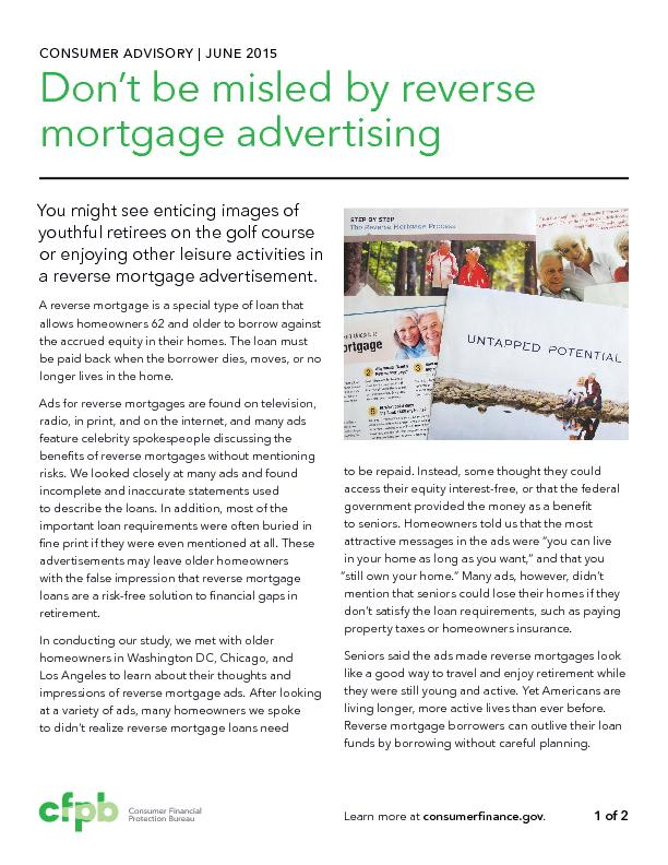 CONSUMER ADVISORY | JUNE 2015Don't be misled by reverse mortgage
