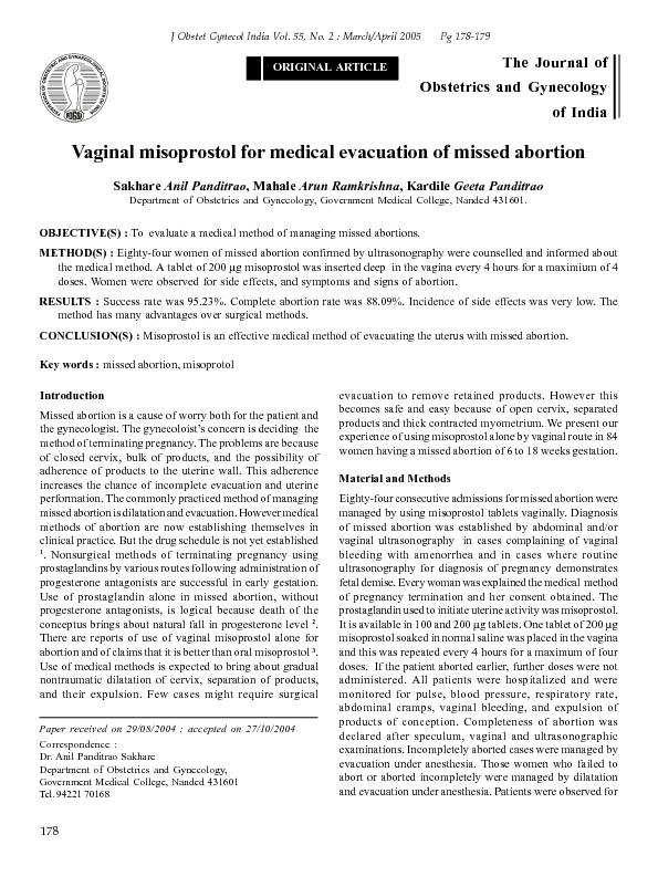 Vaginal misoprostol for medical evacuation of missed abortionDepartmen