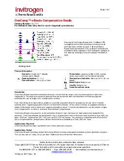 Page of OneComp eBeads Catalog Number   GPR General Purpose Reagents