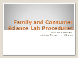 Family and Consumer Science Lab Procedures