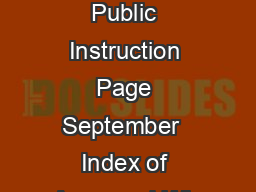 Wisconsin Department of Public Instruction Page September  Index of Approved Wis