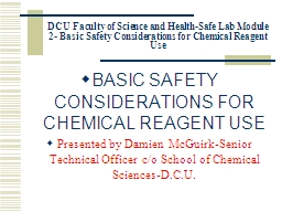 DCU Faculty of Science and Health-Safe Lab Module 2- Basic