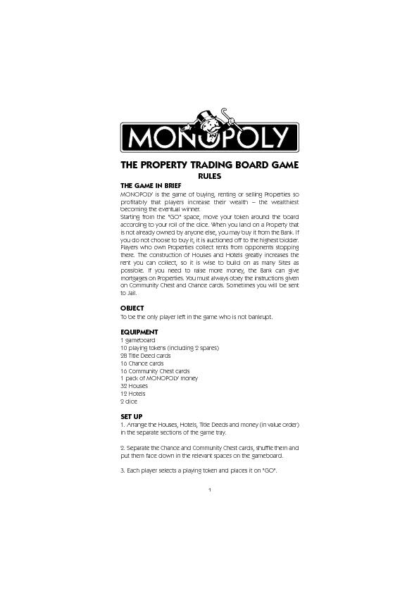 MONOPOLY is the game of buying, renting or selling Properties sobecomi