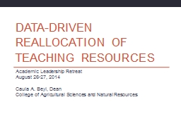 Data-driven Reallocation of Teaching Resources PowerPoint PPT Presentation