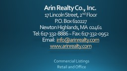 Arin Realty Co., Inc.