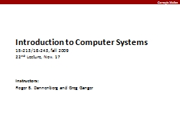 Introduction to Computer Systems PowerPoint PPT Presentation