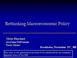 Rethinking Macroeconomic Policy