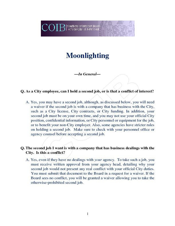 MoonlightingIn GeneralQ. As a City employee, can I hold a second job,