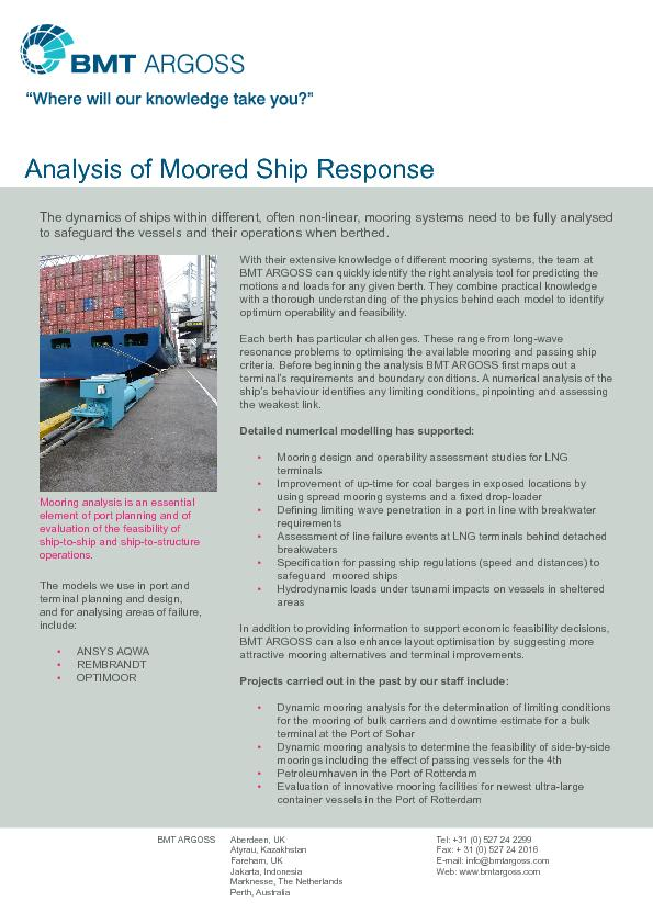Analysis of Moored Ship Response
