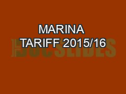 MARINA TARIFF 2015/16 PowerPoint PPT Presentation