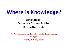 Where is Knowledge?