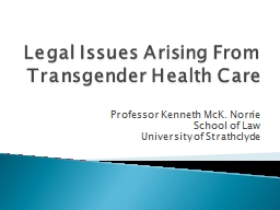 Legal Issues Arising From Transgender Health Care