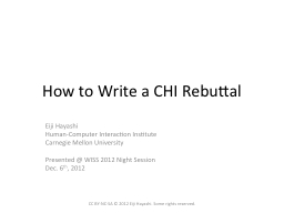 How to Write a CHI Rebuttal