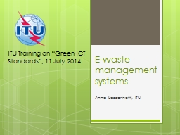 E-waste management systems PowerPoint PPT Presentation