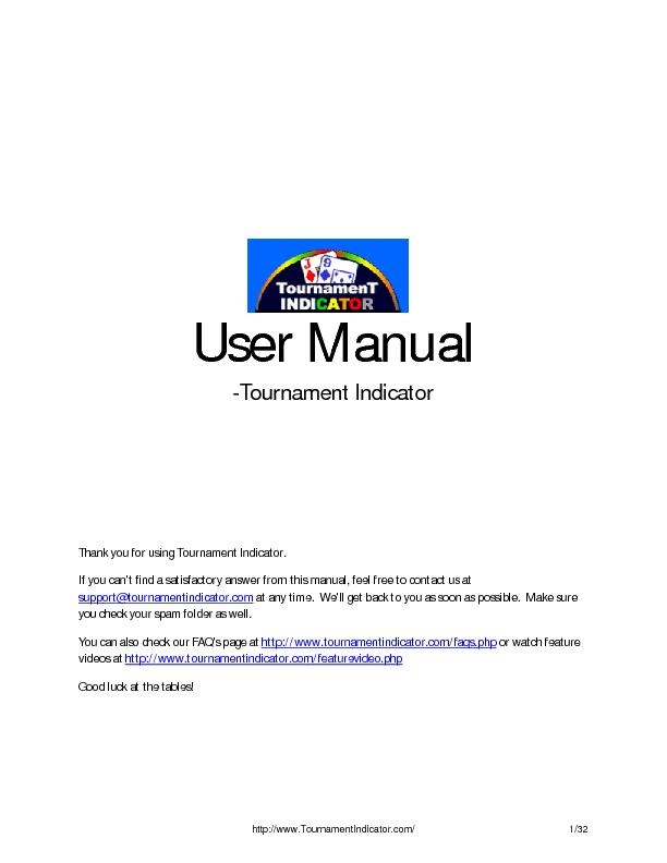 User Manual -Tournament Indicator     Thank you for using Tournament I