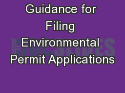 Guidance for Filing Environmental Permit Applications
