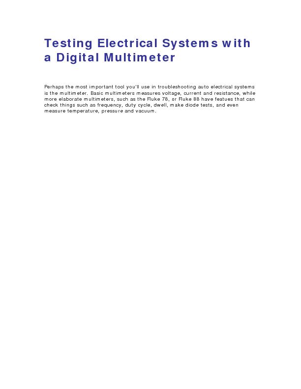 Testing Electrical Systems with a Digital Multimeter