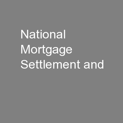 National Mortgage Settlement and