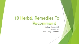 10 Herbal Remedies To Recommend PowerPoint PPT Presentation