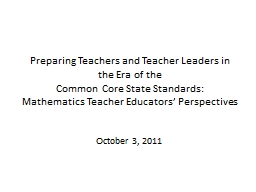 Preparing Teachers and Teacher Leaders in the PowerPoint PPT Presentation