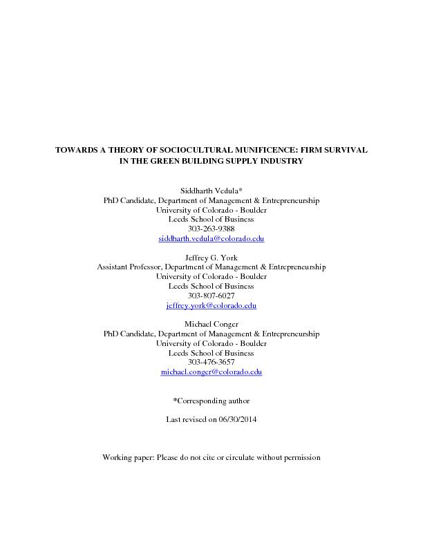 TOWARDS A THEORY OF SOCIOCULTURAL MUNIFICENCE: FIRM SURVIVAL IN THE GR