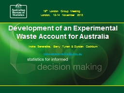 Development of an Experimental Waste Account for Australia