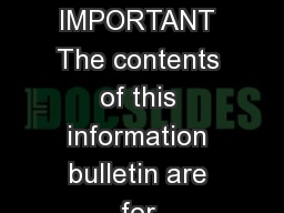 NFORMATION BULLETIN BANDO NED CHATTELS TENANT BELONGINGS IMPORTANT The contents of this information bulletin are for information purposes only and do not replace the legislation
