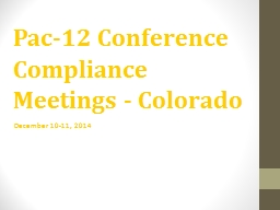 Pac-12 Conference Compliance Meetings - Colorado