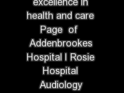 Patient Information BrandtDaroff Exercises Innovation and excellence in health and care Page  of  Addenbrookes Hospital l Rosie Hospital Audiology Department Home treatment of Benign Paroxysmal Posit