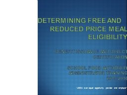 Determining Free and 		Reduced Price Meal  			Eligibility PowerPoint PPT Presentation