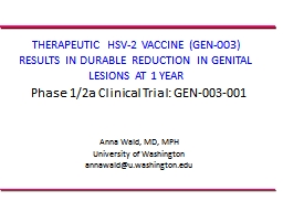 THERAPEUTIC HSV-2 VACCINE (