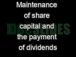 Maintenance of share capital and the payment of dividends