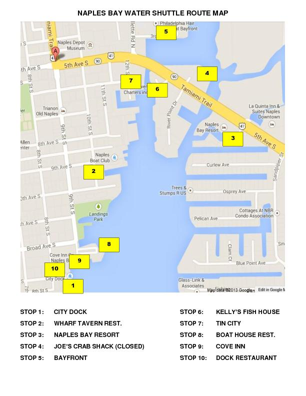 NAPLES BAY WATER SHUTTLE ROUTE MAP