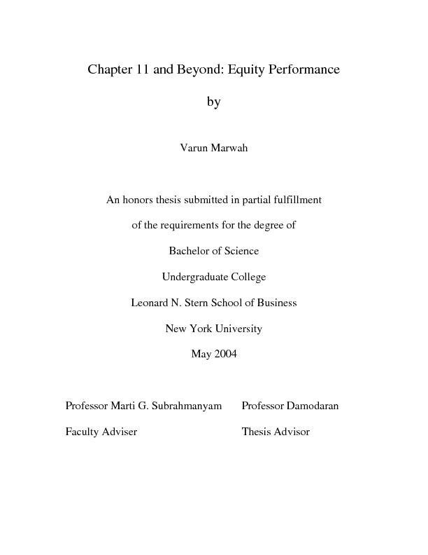 Chapter 11 and Beyond: Equity Performance
