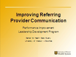 Improving Referring Provider Communication
