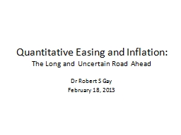 Quantitative Easing and Inflation: