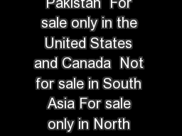 Recent  BestSelling Titles  Not for sale in Pakistan  For sale only in the United States and Canada  Not for sale in South Asia For sale only in North America and the Philippines Not for sale in the