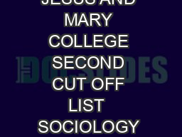 JESUS AND MARY COLLEGE SECOND CUT OFF LIST  SOCIOLOGY