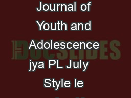 P FMN Journal of Youth and Adolescence jya PL July    Style le version Nov