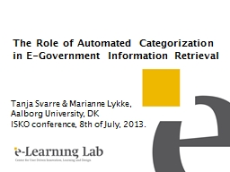 The Role of Automated Categorization in E-Government Inform PowerPoint PPT Presentation