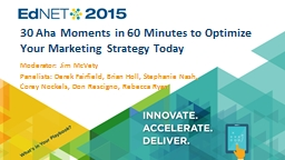 30 Aha Moments in 60 Minutes to Optimize Your Marketing Str PowerPoint PPT Presentation