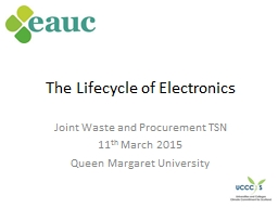 The Lifecycle of Electronics