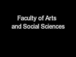 Faculty of Arts and Social Sciences
