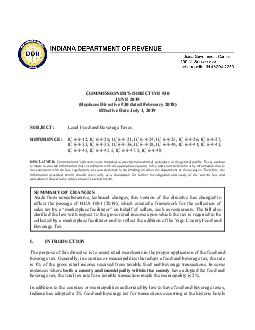 COMMISSIONERS DIRECTIVE  OCTOBER  Replaces Directive  dated February  Effective Date July   SUBJECT Local Food and Beverage Taxes REFERENCE IC   IC   IC   IC   IC   IC   IC   IC   IC   IC   IC   IC