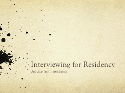 Interviewing for Residency PowerPoint PPT Presentation
