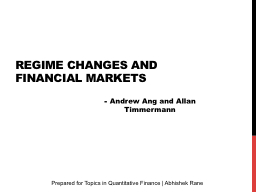 Regime Changes and Financial Markets