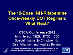 The 12-Dose INH-Rifapentine Once-Weekly DOT Regimen: