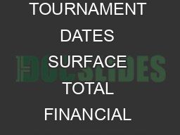 CITY COUNTRY TOURNAMENT DATES SURFACE TOTAL FINANCIAL COMMITMENT Tokyo Japan Sep